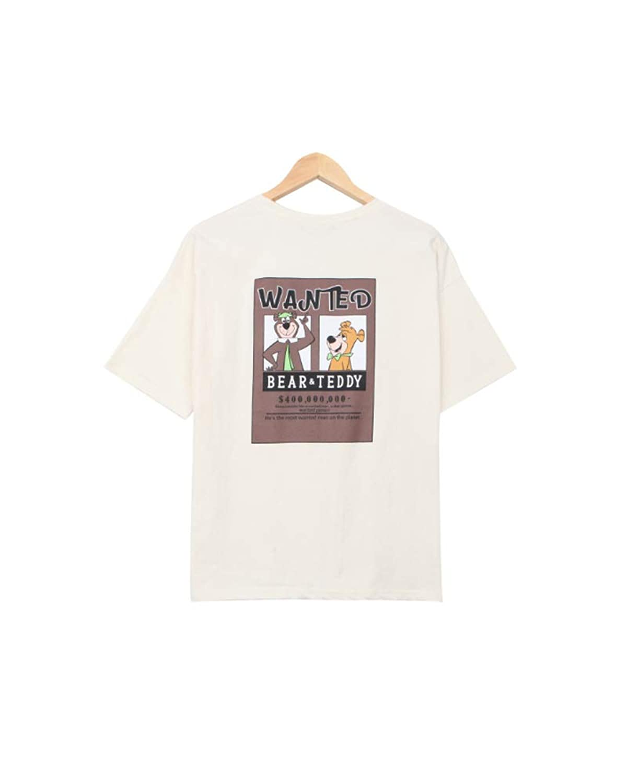Bullang レディーズ テディアンドベア 半袖 Tシャツ Korean 大人 学生 韓国ファッション