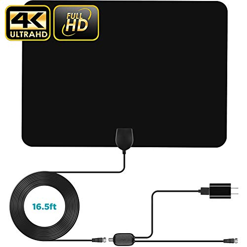【New Version】 Digital Amplified Indoor HD TV Antenna Up to 100 Miles Range HDTV Antenna 4K 1080p VHF UHF Freeview Television Local Channels Detachable Signal Amplifier and 16.5ft Longer Coax Cable