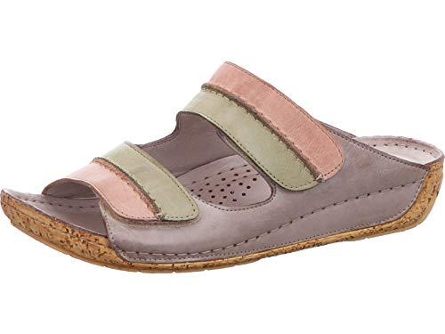Gemini 032140-02 Damen Clogs Pantoletten Klettveschluss Leder, Schuhgröße:41 EU, Farbe:Grau