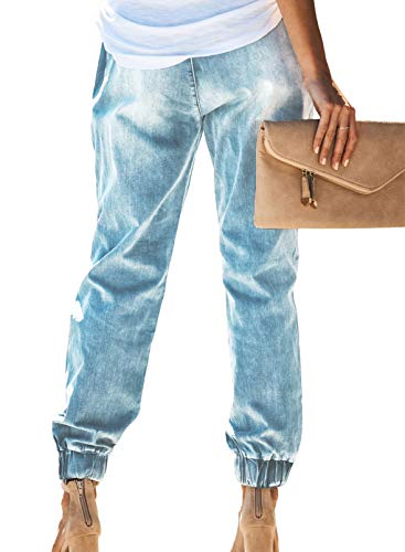 Bdcoco Women's Distressed Denim Joggers Pants Loose Elastic Waist Jeans