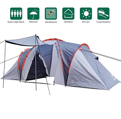 Climecare Familienzelt 4 Personen Campingzelt mit Tragetasche,Tunnelzelt,Zelt für Camping Wandern Reisen,Grau