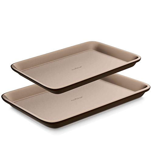 Nutrichef NC2TRBK1 Nonstick Cookie Sheet Pan | 2pc Large and Med Metal Baking Tray Professional Quality Kitchen | Non-Stick Bake Trays, Guaranteed NOT to Wrap-FDA approved- PTFE/PFOA/APEO-Free