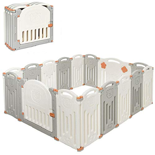 Costzon Baby Playpen, 16-Panel Foldable Baby Fence w/Locking Gate, Non-Slip Rubber Bases, Adjustable Shape, Portable Baby Play Yards Design for Indoor Outdoor Use (Beige + Gray, 16-Panel)