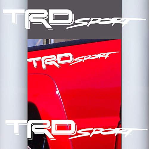 Coza Decals Sticker Compatible with TRD Sport Tacoma Tundra or Any Toyota Truck Pair Set of 2 White Matte