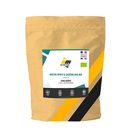 Native Whey & Casein Mix Bio • 100% biologisch • volledig eiwitten onbehandeld • Native Mix Whey Isot + Micelcaseïne • Zonder aromas • Gemaakt in Frankrijk • AM Nutrition