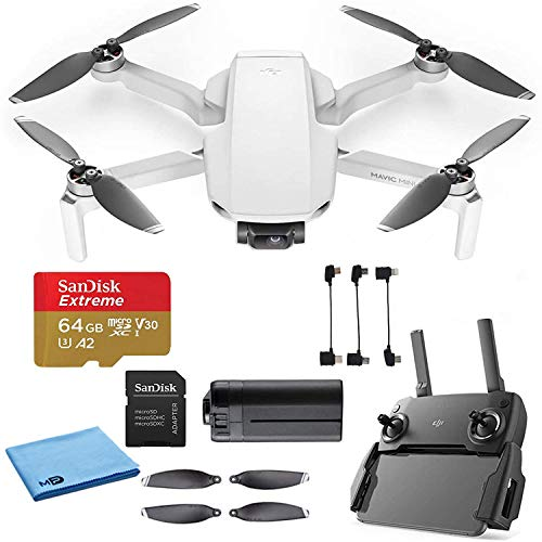 DJI Mavic Mini Starter Bundle - Drone FlyCam Quadcopter UAV with 2.7K Camera 3-Axis Gimbal GPS 30min Flight Time, Less Than 0.55lbs, Gray