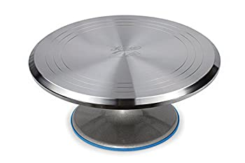 Ateco Revolving Cake Decorating Stand Aluminum Turntable and Base 12-Inch Round