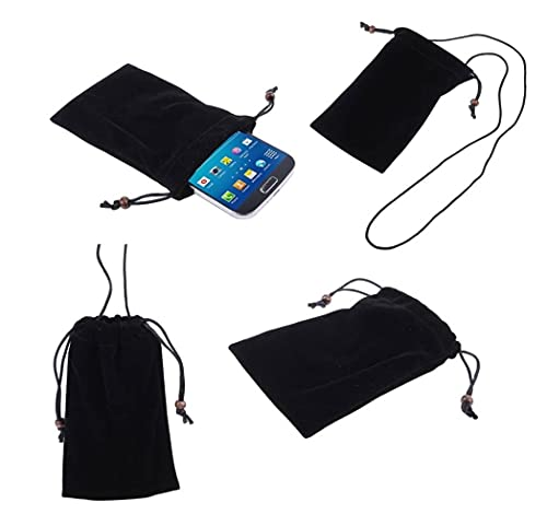 DFV mobile - Case Cover with Chain and Loop Closure Soft Cloth Flannel Carry Bag for Huawei Ascend G630 G630-U20 - Black