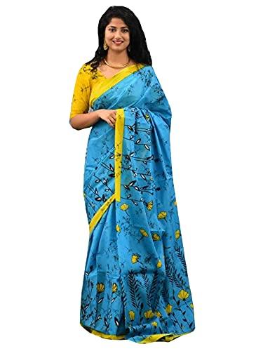 Blu Bagru Mano Blocco Stampa Cotone Indiano Mulmul Saree Camicetta Durga Puja Soft Donna Shimori Sari 937b 4
