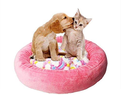 Cat Dog Bed Pet Nest Kitten Puppy Plush Mattress Cat Bed Round Donut Star Moon Pillow (medium 60x52x8cm) (color : Pink Size : M) xiao1230