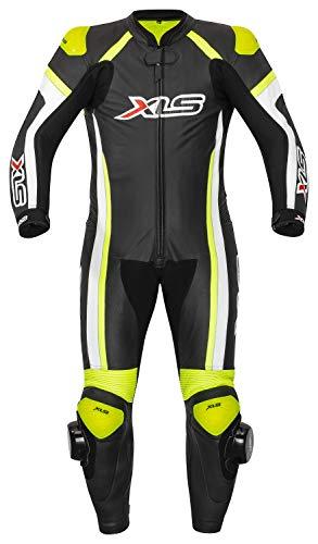 XLS Lederkombi hochwertiger Einteiler Schwarz Weiß Neongelb Motorradkombi einteilig (56)
