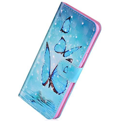 Herbests Kompatibel mit Samsung Galaxy Note 10 Handy Hülle Handytasche Leder Hülle Bunt Glitzer Bling Glänzend Leder Schutzhülle Flipcase Brieftasche Wallet Tasche,Schöne Schmetterling