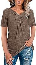 QiKun-Home Dames T-shirts met korte mouwen en V-hals Tops Zomer Casual Tuniek Tops Blouse voor dames Comfortabele casual t...
