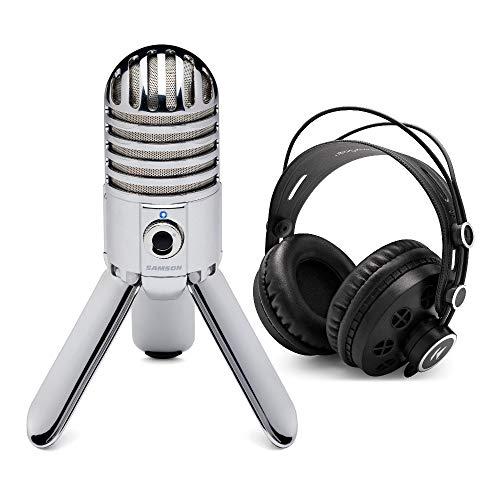 Samson SAMTR Meteor Mic USB Studio Condenser Microphone Bundle with Knox Gear Headphones (2 Items)