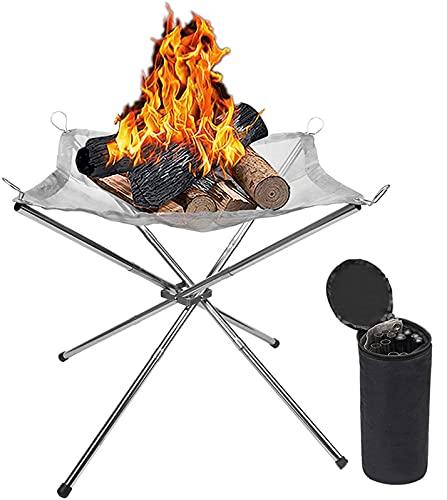 sZeao Tragbare Feuerstelle Outdoor Camping Feuerstelle Edelstahl-Kohlegeflecht Und Klappbaren Ständer Mit Tragetasche Für Patio Camping Grill Garten