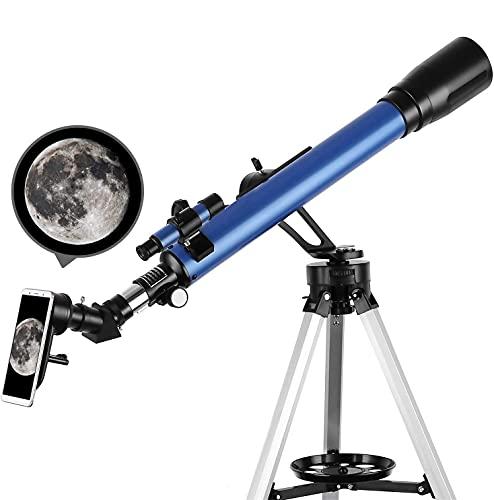 Telescopio Refractor Portátil, 60/700 mm, con Trípode Ajustable, Adaptador para Teléfono Móvil, Apto para Adultos, Niños y Principiantes