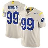 HRHT Männer Fußball T-Shirt Los Angeles Rams 99# Aaron Donald Jersey Gesticktes Fußball-Sporttrikot Kurzarm Top T-Shirt Jersey