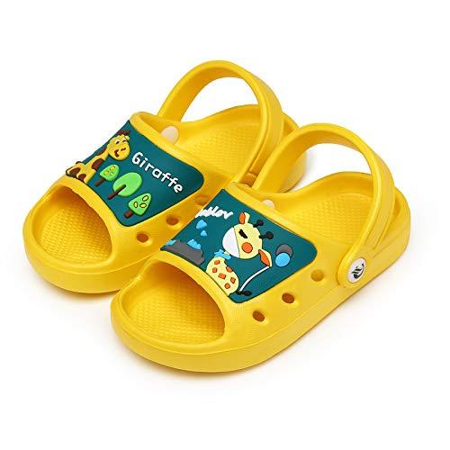 CELANDA Zapatillas de Playa para Niños Bañarse Chanclas para Niña y Niño Sandalias Verano Antideslizante Zapatillas Respirable Plana Zapatos de Agua Amarillo-B 30/31EU