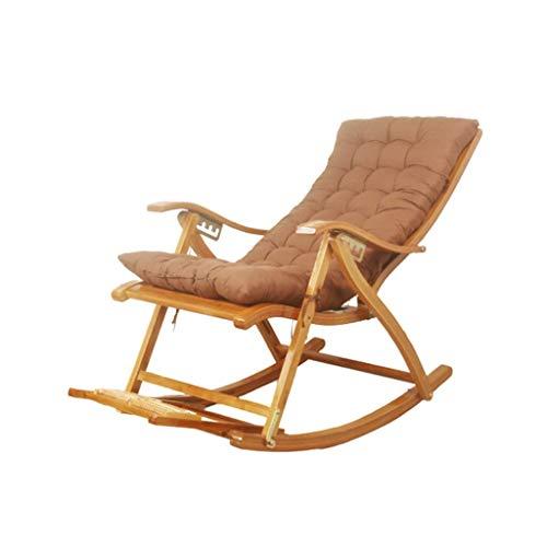 WFFF Mecedora de bambú, Silla Plegable portátil Ajustable para el hogar, con reposapiés retráctil y Bola de Masaje, sillón para balcón