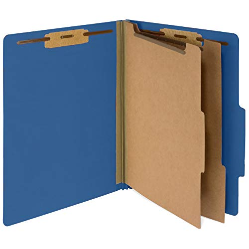 10 Dark Blue Classification Folders - 2 Divider - 2 Inch Tyvek Expansions - Durable 2 Prongs Designed to Organize Standard Medical Files, Law Client Files - Letter Size, Dark Blue, 10 Pack