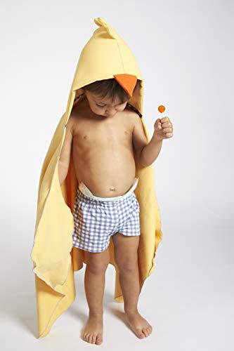 Capa de Baño Montessori Pollito con manoplas para usar sin ayuda de un adulto y Bolsita a juego, 0 a 4 años, amarillo, 110x55cm, Microfibra, Fabricado en España