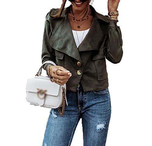 x8jdieu3 Abrigo Corto De Mujer Con Solapa Entallada Y Botones Con Costuras Callejeras