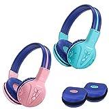 2 Stück SIMOLIO Wireless Bluetooth Kopfhörer Kinder mit Hardcase und Share Port,Kabelloser kindersicherer Kopfhörer mit Begrenzter Lautstärke,Over-Ear-Wireless-Kopfhörer für Mädchen, Jungen Mint+Pink