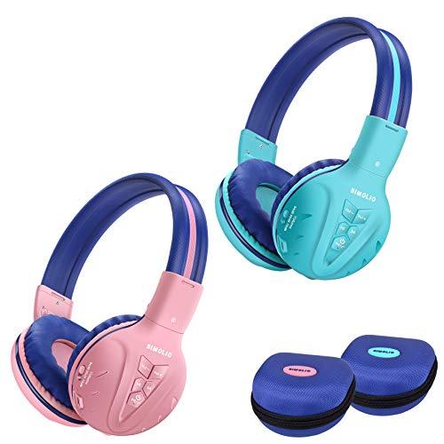 SIMOLIO Casque Supra-auriculaire Bluetooth sans Fil pour Enfants avec Volume limité de Son Sûr pour Protéger L'audition, Solide et Pliable Casque sans Fil pour Enfants, Pochette EVA Inclus