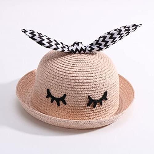 Lianaic Sombrero Playa Mujer Sombrero de Paja de Verano para niños, Sombrero de Cuenca de Oreja de Conejo para niños, Visera para el Sol para bebés, Protector Solar, Sombrero para el Sol