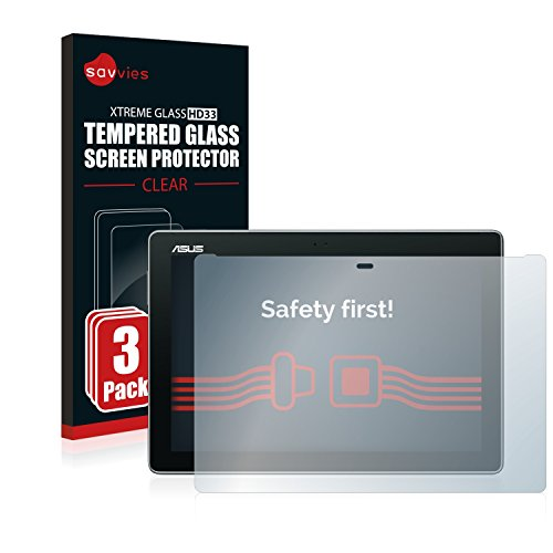 Savvies Panzerglas kompatibel mit Asus ZenPad 10 Z300C / Z300CL / Z300M (3 Stück) - Echt-Glas, 9H Festigkeit, Anti-Fingerprint