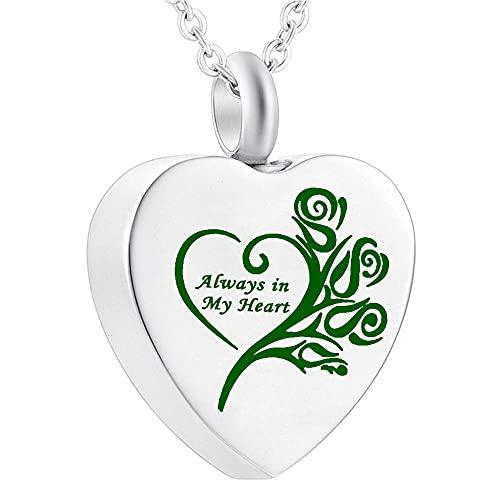 UGBJ Cenizas Guardar 12 Colores Moda Siempre en mi corazón Cremation Jewelry Ash Urn Necklace para el Recuerdo Regalo Funeral Colgante con Kits de Embudo urna cremación Collar Memorial