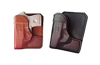 J&J Custom Formed to FIT Smith & Wesson S&W M&P Bodyguard 380 BG380 W/Factory Laser Formed Wallet Style Premium Leather Back/Cargo Pocket Holster  Black Left