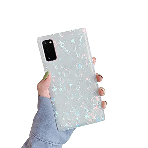 Robotsky Marble Square Phone Cases for Samsung Galaxy S21 Women Girls Square Soft Edge Sparkle Shell Slim Silicone Shockproof Galaxy S21 Case 5G 2021