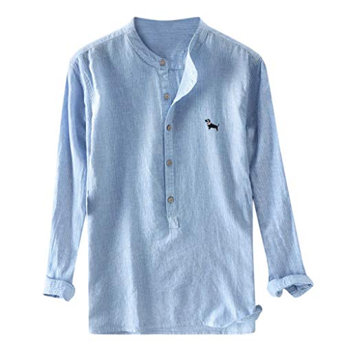 Overdose Camisas de Verano para Hombres Camisa de algodón de Lino de Manga Larga Botón Holgado a Rayas con Cuello Redondo Suave Elegante Camisetas de Talla Grande