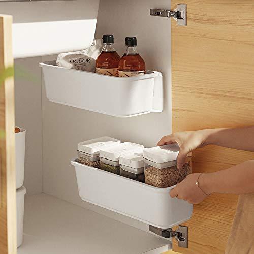 Baffect 2 Stk Küche Ausziehbarer Schrank Korb Organizer, Ausziehbare Kunststoff-Schubladen, Unter Waschbecken Schrank Organizer Schiebekorb Schublade für Küche Bad Unterbau (Weiß)