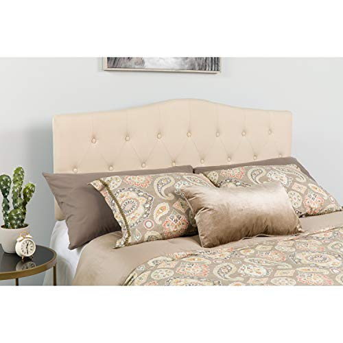 Flash Furniture Cambridge Tufted Upholstered Full Size Headboard in Beige Fabric
