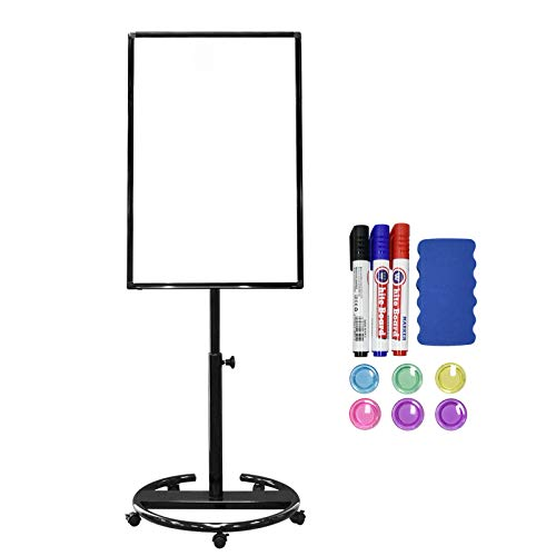 White Board Magnetic Mobile Dry Erase Board Easel 36 x 24 inch Wheels Movable Stand Whiteboard with Flipchart Hook Height Adjustable, Black