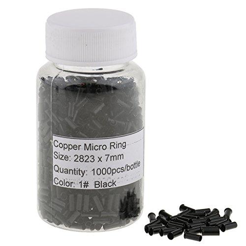 MagiDeal 1000pcs Micro Anneau Tubes Doublé en Aluminium pour Extention de Cheveux - noir