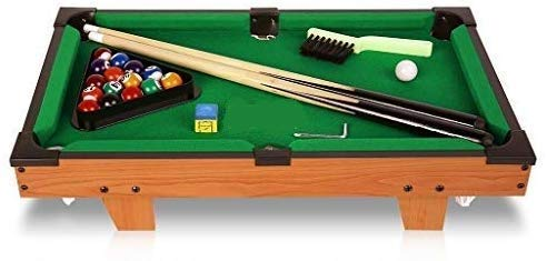 Barodian's™ Snooker Game Mini Wooden Table Top Pool Table Game. Billiard Table Set with Balls, Cus, Chalk, Rack, Billiard Table for Children Indoor and Outdoor Game