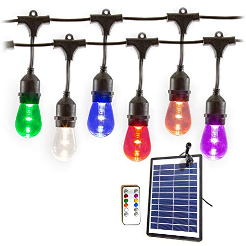 Solar Power LED Outdoor Patio Color Changing String Hanging Lights. Heavy Duty Commercial Grade. 25ft in Length with 12 Premium LED Vintage Edison Bulbs. Wireless Remote Control with timer. Mississippi