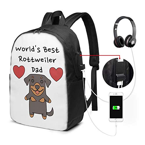 MHHYY USB Backpack 17-Inch World's Best Rottweiler Dad Cute Dog Father Adjustable Shoulder Bag Carry On Bags Laptop Backpack for Travel School Business
