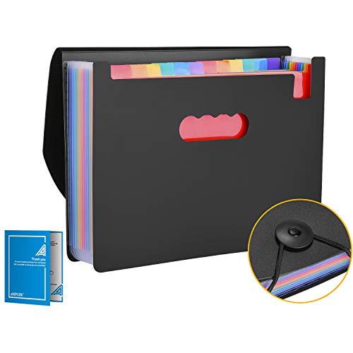 Ordnungsmappe, ausziehbar, 12 Fächer, A4, mit Register-Blättern und Gummizug, Ordner für Dokumente im A4-Format, ausziehbare Halterung und farbige Etiketten