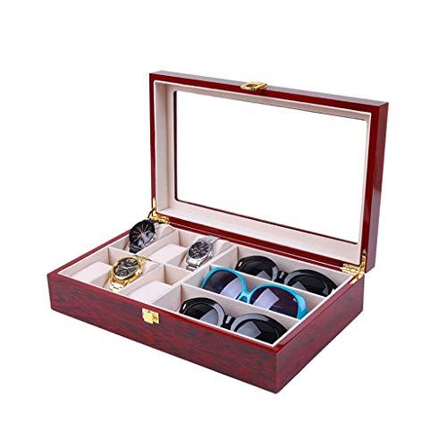 Glazen opbergdoos hout opbergdoos display brillendoos juwelendoos eenvoudige afwerking box