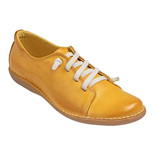 Chacal Shoes - Zapatillas de Cuero para Mujer - máximo Confort - Zapatos Deportivos de Cuero 100% - Cordones elásticos - Fácil Calzado - Color Amarillo en Talla EU 38