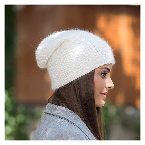 hat Hombres y Mujeres Invierno a Prueba de Viento y cálido All-Match Color Pure Color Punto de Punto, cómodos Orejeras de Lana, Tapa fría, Sombrero al Aire Libre (Color : White)