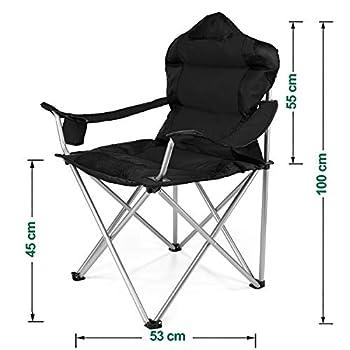 TRESKO® Chaise de Camping Pliante et transportable | jusqu'à 150 kg | Chaise de pêche Portable avec accoudoirs et Porte-gobelets (Noir)