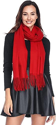 ELF KUCKUCK Schal Damen Winter Baumwolle Winterschal Pashmina, Geschenke für Frauen Freundin Mama, Rot