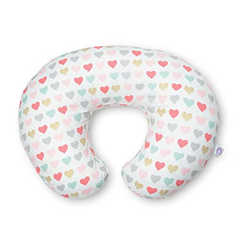 Boppy Cojin de Lactancia para Bebés de 0+ Meses, Forma Ergonómica e Indeformable, Miracle Middle, Almohada y Nido Bebé para la Lactancia Materna o con Biberón - Blanco corazones (Hearts)