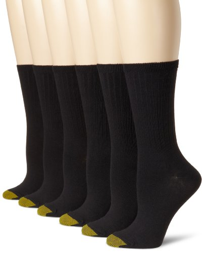 Gold Toe Women's Casual Ribbed Crew Socks, 6 Pairs, black, Shoe Size: 8-13