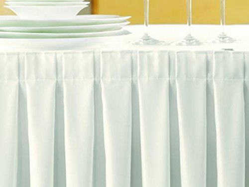 Gastro Uzal Skirting Excellent 520x73 cm Weiss/weiß Tischrock/Kellerfalte für die Tischgrößen 170 x 80 cm / Ø160 cm geeignet mit rückseitigem Klettband, …
